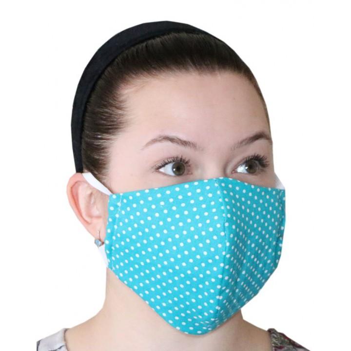 Маска (1шт.) многоразовая для защиты лица (Бирюза)
