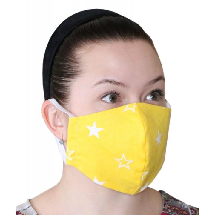 Маска (1шт.) многоразовая для защиты лица (Звезда жёлтая)